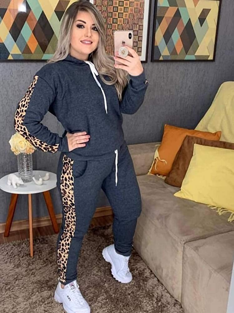 Fixmatti Women Two Piece Sweatsuit Pullover Hoodie Jogger Pant Leopard Tracksuit Set