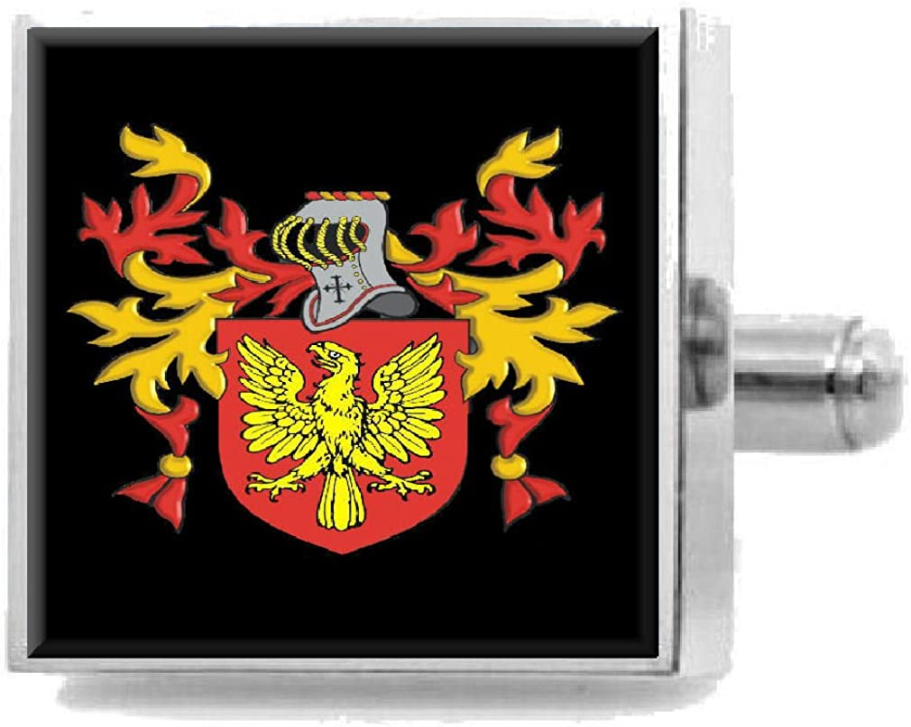 Select Gifts Troyhin Ireland Family Crest Coat Of Arms Sterling Silver Cufflinks Engraved Box
