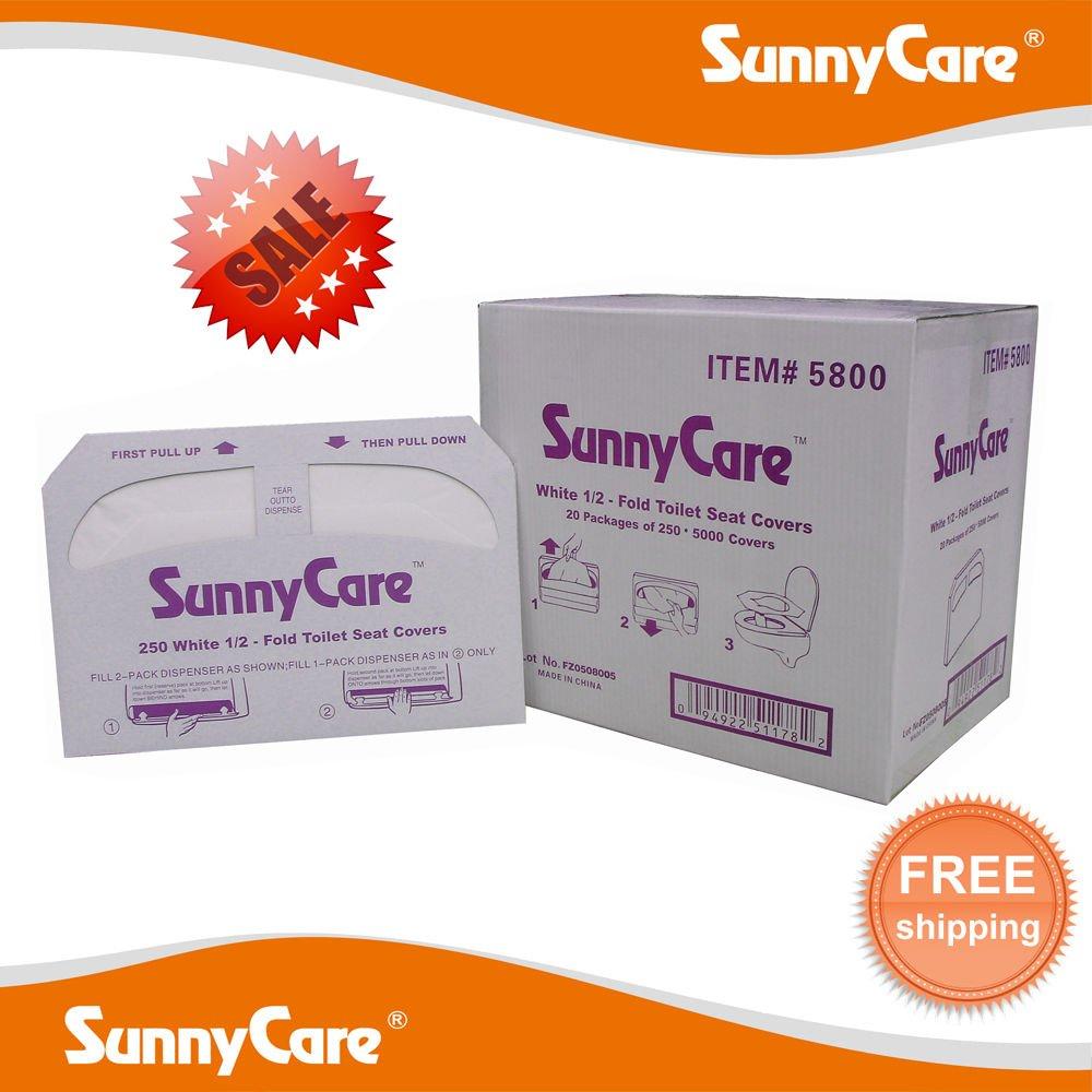 SunnyCare #5800 半折り紙 トイレットシートカバー 250カバー/ボックス 20箱/カートン B004EHL1OE