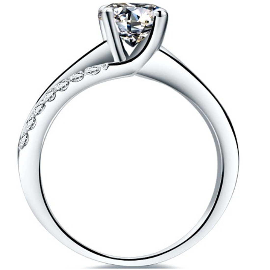 Superb 1CT NSCD Simulated Diamond Ring 4 Prongs Setting Engagement Ring for Women Sterling Silver by THREE MAN (Image #3)