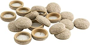 "Super Sliders 4318595N Formed Felt 1"" Furniture Movers for Hard Surfaces (20 Piece) - Oatmeal, Round SuperSliders, 1 Inch, Linen,"