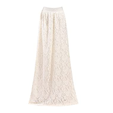 Petticoats for Women, Women Lace Double Layer Pleated Long Maxi Skirt Elastic Waist Skirt