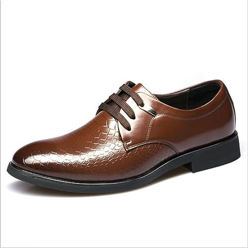 Zapatos de Cuero para Hombres Zapatos de Cuero con Cordones Clásicos Obra de Trabajo Formal Mocasines Cómodos Oficina y Carrera Fiesta y Noche Zapatos de ...