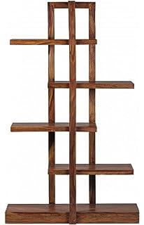 Wohnling Bcherregal Massiv Holz Sheesham 115 X 180 Cm Wohnzimmer
