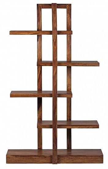WOHNLING Bücherregal Massiv Holz Sheesham 180 Cm Wohnzimmer Regal Mit 5  Ablagefächern Design Landhaus
