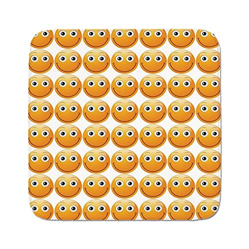 Cozy Seat Protector Pads Cushion Area Rug,Emoji,Smiley Technologic Modern Happy Loving Mood Full Face Expressions Plain Art Image Print,Yellow,Easy to Use on Any Surface