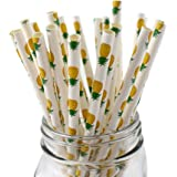 IPALMAY Pineapple Patterned Drinking Paper Straws, Disposable Biodegradable, 7.75 Inches, Pack of 100