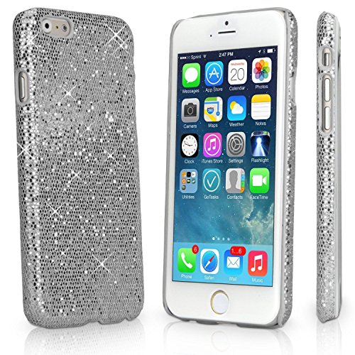Apple iPhone 6+ Glitter Variety Solid Sequin Bling Diamond Luxury Sparkly Cute Girly Kawaii Pretty Shine Twinkle Sparkle Thin Hard Protective Back 6s+ Plus Cover Case By Tech Express (Chrome Silver) (Iphone 4 Wall Charger Sparkly)