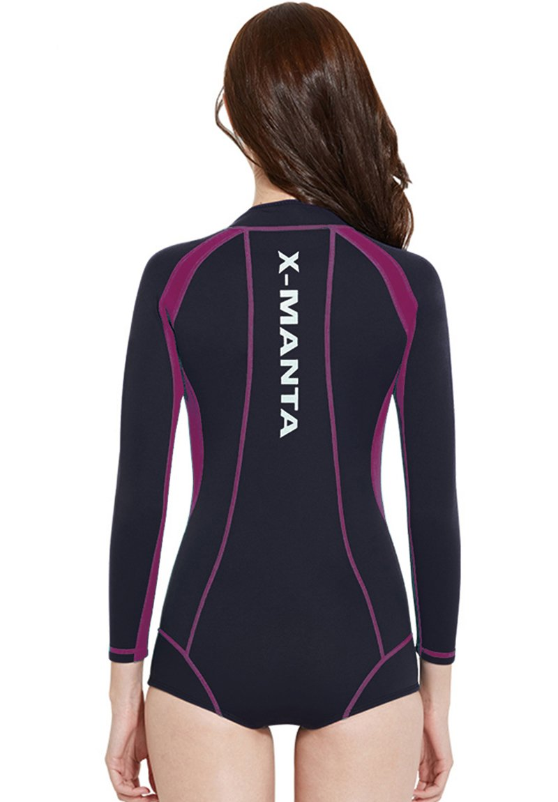 Akaeys Diving Shorty Wetsuits for Women Long Sleeve and Shorts Sun Protection Comfortable Watersport 3mm Neoprene