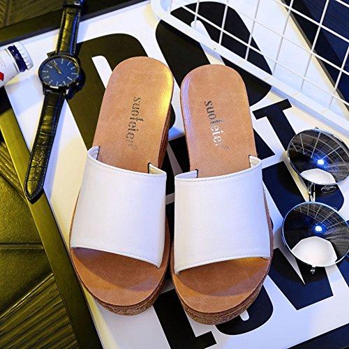 EU39 Pantoufles Six pour 5CM Sandales épais CN39 femmes HAIZHEN femmes mode d'été femme de UK6 chaussures Blanc couleurs Pour 7 Couleur Chaussons facultatives Bleu taille YWq1F4nX