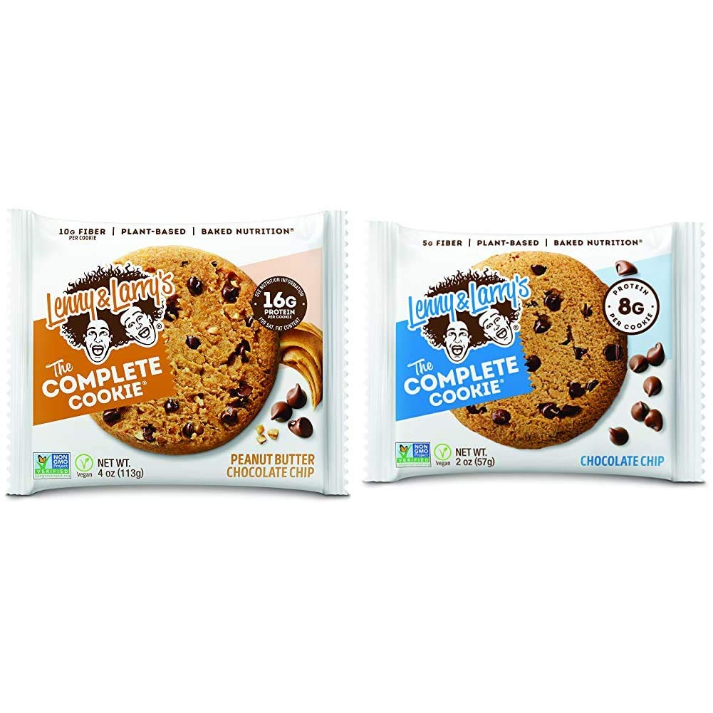 Lenny & Larry's The Complete Cookie, Peanut Butter Chocolate Chip, 16g Plant Protein, 4 Ounce Cookie (Pack of 12) & The Complete Cookie Snack Size, 8g Plant Protein, 2 Ounce Cookie (Pack of 12)