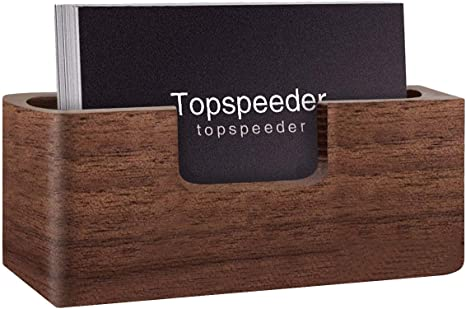 1 Pack Wood Business Card Holder Display Professional Brown Walnut Cards Case For Desk Desktop Single Compartment Wooden Name Card Stand For Tables