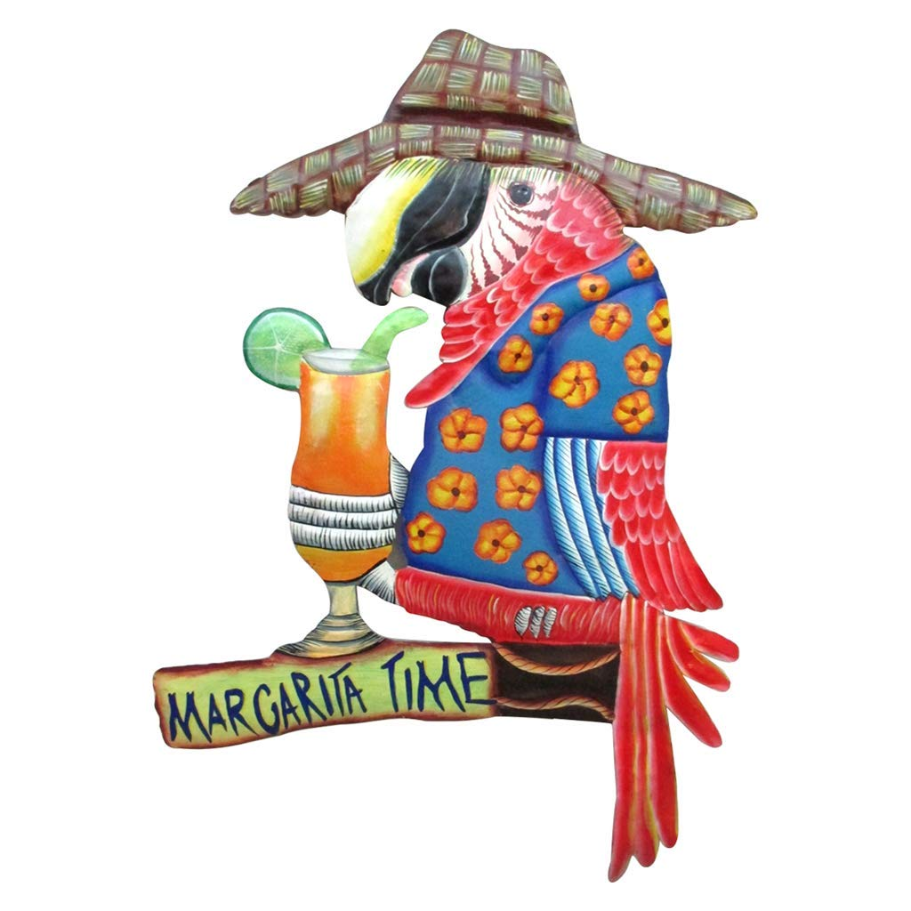 Margarita Time Parrot Metal Wall Art, Colorful Bar Sign for Man Cave, Summer Beach House Décor Accessory