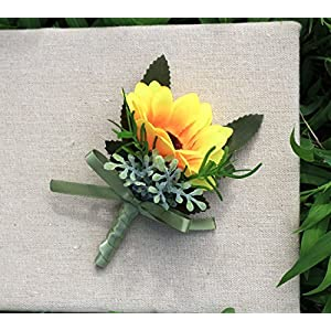 KUPARK 2pcs Artificial Sunflower Wedding Corsage Boutonniere for Party Prom Wedding 83