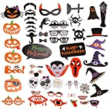 LOCOLO Halloween Photo Booth Props for Halloween Party-Photo Booth for Halloween Decorations-Mix of Hats Lips Mustaches Glasses Ghosts 52pcs great for Halloween Family & Friends Parties and More
