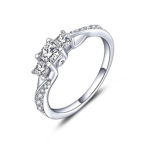 YL Anillo de compromiso chapado en oro blanco de las mujeres-Sterling Silver 925 Corte