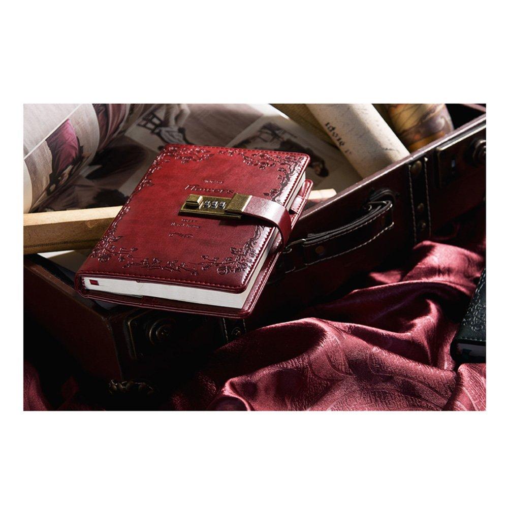PU-Leder Tagebuch Schreiben Notebook Notebook Notebook B6 Größe Persönliches tagebuch mit Blaume Muster Tägliche Passwort Notizblock geeignet für Business Reisen Record 9  6.8  1.9 inch schwarzish Grün Book B07FSJK6XN | Hat einen langen Ruf  | Er a95a76