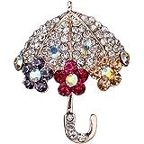 Doitsa ブローチ 胸元 ラインストーン 傘 輝く クリスマス用品 プレゼント ギフト キラキラ