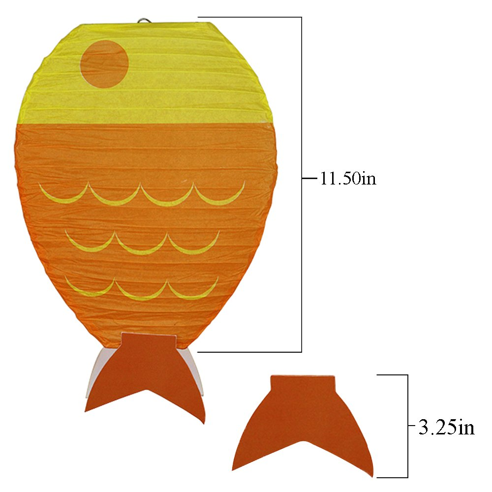Just Artifacts 12inch Fish Shaped Hanging Paper Lanterns (Set of 3)