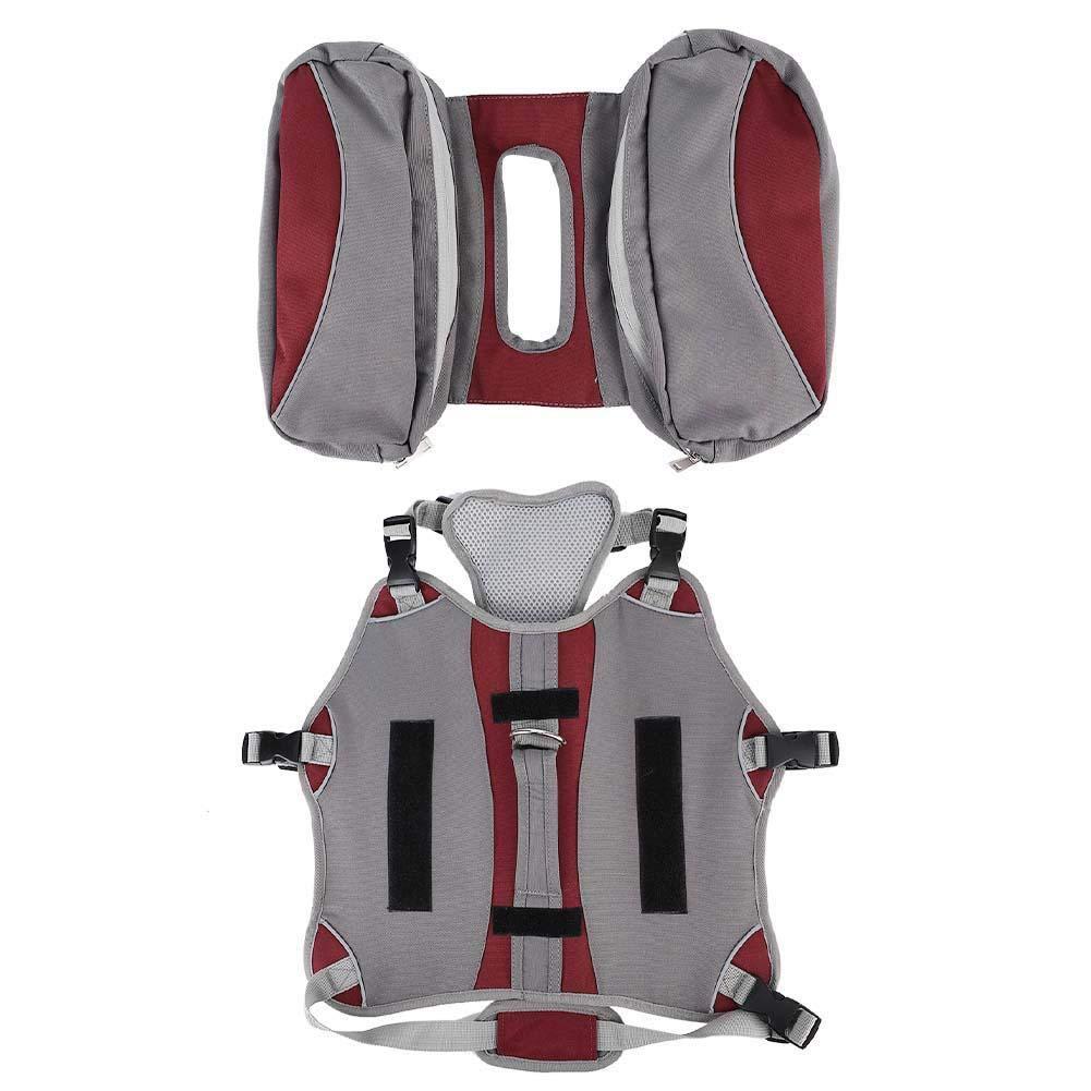 Red Dog Backpack Harness Portable Walking Camping Hiking Backpack Detachable Pet Saddle Bag Travel Packs Reflective Dog Vest Harness for Medium & Large Dogs(Red)