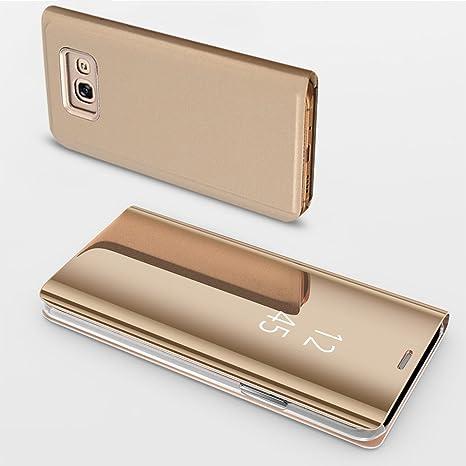 HUDDU Schutzhülle für Samsung Galaxy A5 2017 Spiegel Hülle Flip Slim Handyhülle Leder Tasche Clear Wallet Case Cover Build-in