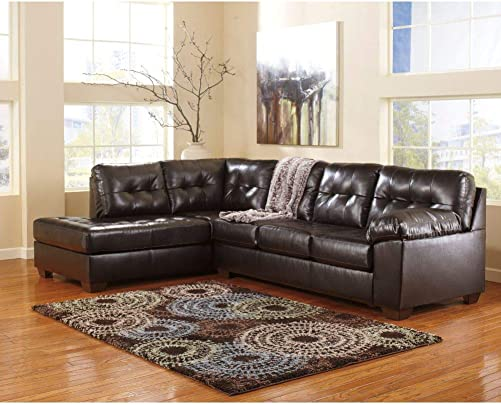 Signature Design by Ashley Alliston Sectional in Chocolate DuraBlend