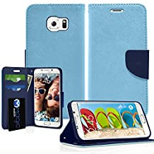 Galaxy S6 Edge Case, MagicMobile® Hybrid PU Leather Flip Cover Case [Heavy Duty] for Samsung Galaxy S6 Edge Folio [Wallet] Impact Resistant Protective Case with Foldable Back Stand Cover (Light Blue)