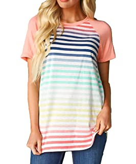 KOSSLY Women Summer Autumn Tops Short Long Sleeves T Shirts for Womens Striped Cotton Casual Shirts with Contrast Color