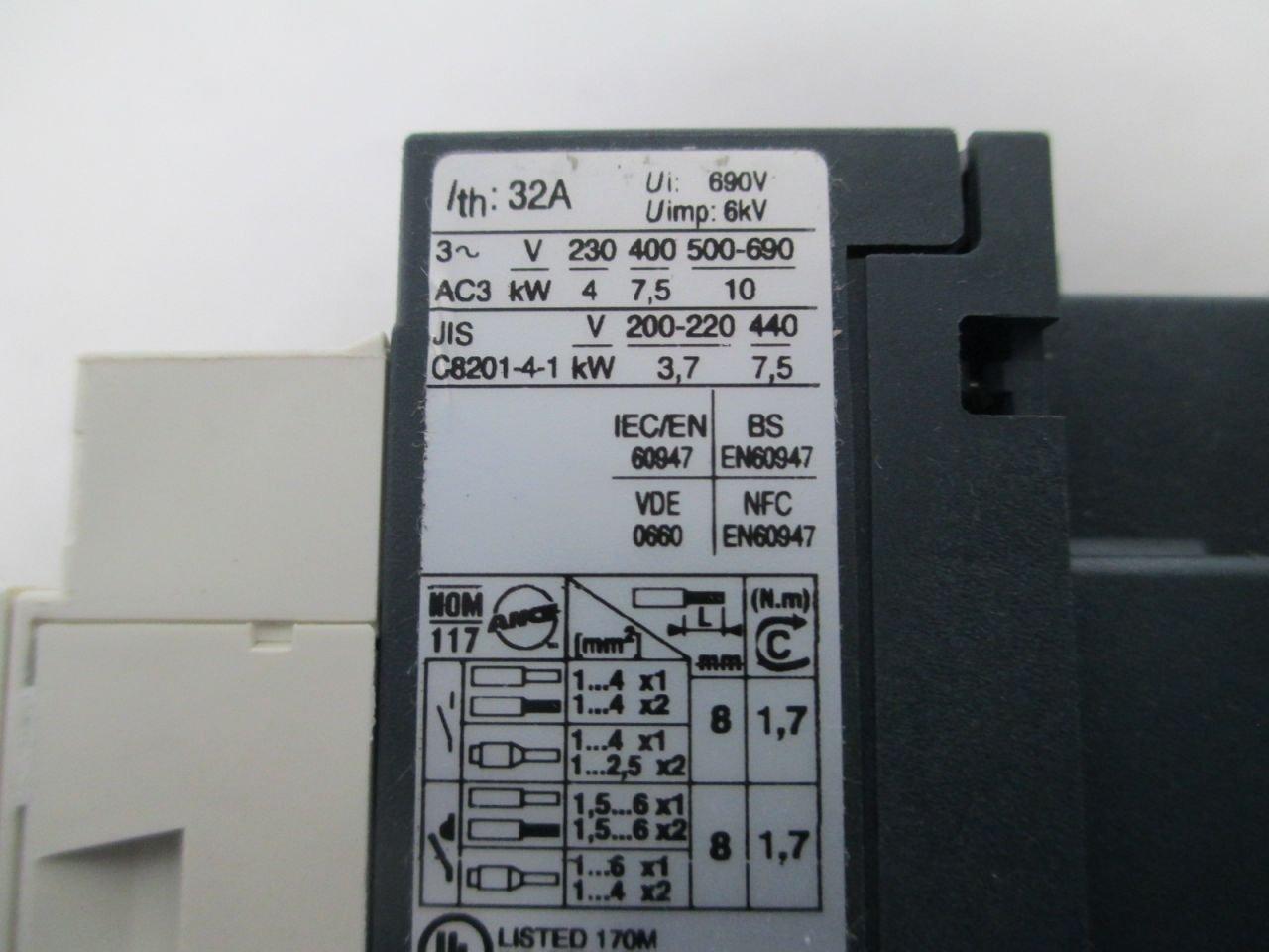 NEW TELEMECANIQUE LC1D18G7 20710 SQUARE D 120V-AC 10HP 32A CONTACTOR D287914