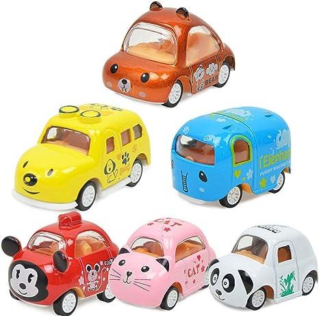 Tirare Indietro Auto 6pcs Auto Ad Attrito Animale Auto Tirare Indietro Veicolo Mini Auto Animali Giocattolo per I Regali Educazione Giocattolo Giocattoli E Giochi per Bambini Regali Cartoni Animati