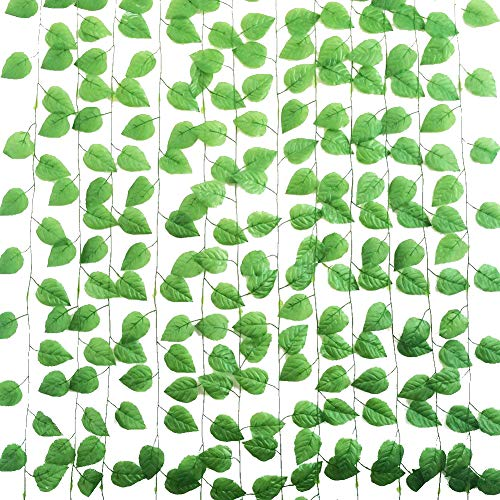 Yatim 94-Ft 12 Pack Artificial Ivy Leaf Garland Plants Vine Hanging Wedding Garland Fake Foliage Flowers Home Kitchen Garden Office Wedding Wall Decor]()