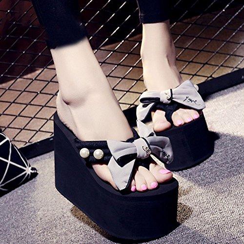 Infradito Infradito Pantofole CHENGXIAOXUAN Pantofole Moda Sandali 12cm E Pantofole Donna Sandali Casual Gray da Estate Scarpe Spesse da Infradito Tacco più Pantofole Spiaggia xXxnU
