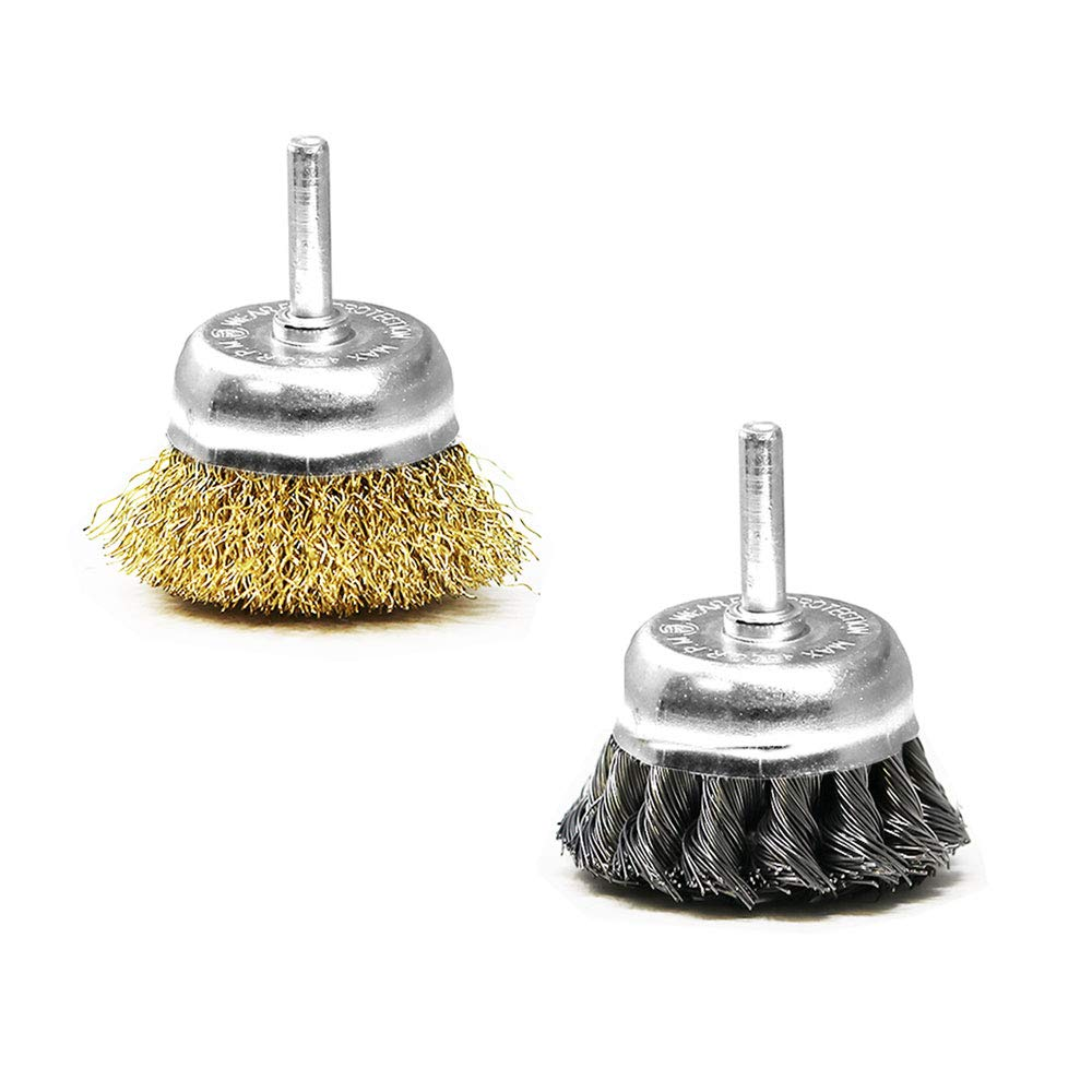 Toolman 2/&2.5Cup Brush with Shank Knotted and Crimped Cups Brush 2PCs for Rust Removal and Reduced Wire Breakage for Power Drill XTH016