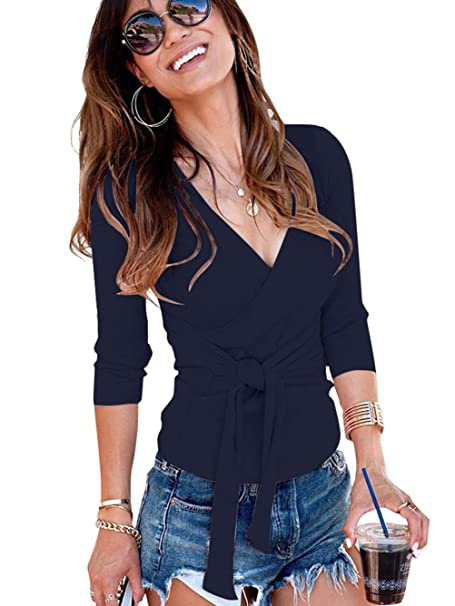 e27e72efd8ed56 Famulily Womens Open V Front Wrap Shirt Long Sleeve Fall Bandage Self Tie  Knotted Tops Blouse