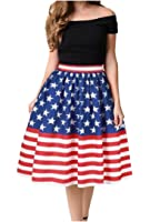XTX Womens High Rise Pleated Flag Printed Big Hem Mid Skirt