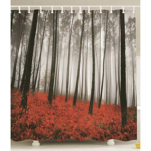 180 x 180cm mysterious forest flower rain rain and fog printed cloth curtains - 1