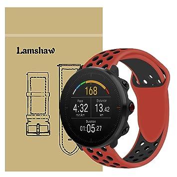 Ceston Deporte Silicona Clásico Correas para Smartwatch Polar Vantage M (Rojo + Negro)