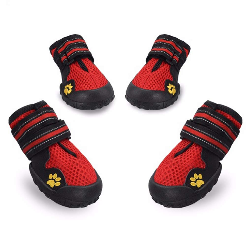 MAXGOODS Dog Boots Waterproof Shoes,Breathable Dog Paw Protectors with Reflective Velcro and Rugged Anti-Slip Sole (5, Red)