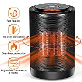 LONOVE PTC Space Heater - Portable Ceramic Heater for Office Bedroom Kids Baby Room Garage Car RV Desk Mini Area, Small Personal 1200W/600W Electric Heater Indoor with Thermostat Oscillation