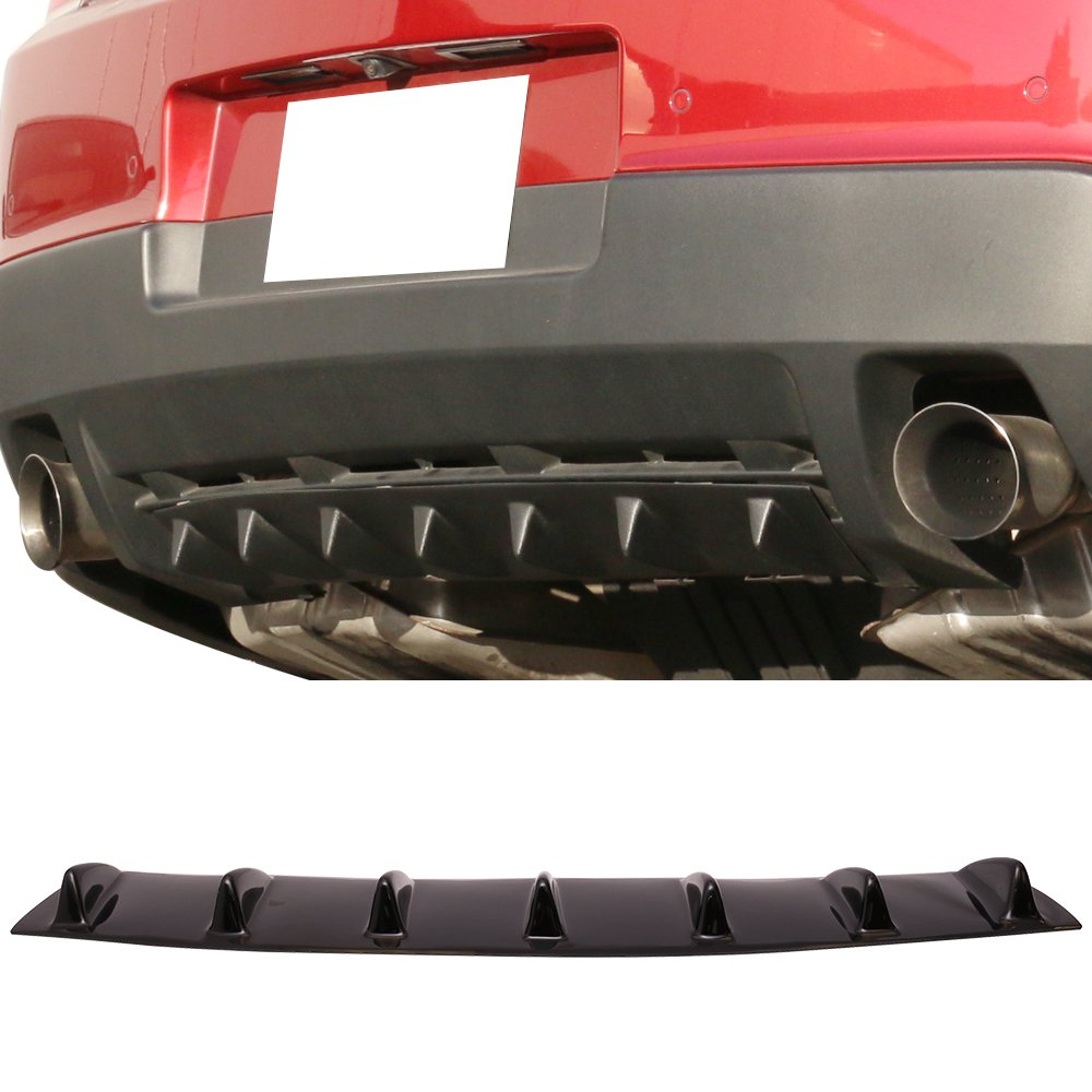 Rear Bumper Lip Diffuser Fits Universal | Universal Style Gloss Black ABS 33 Inch 6 Inch Air Dam Chin Diffuser 7 Fin Textured by IKON MOTORSPORTS | 1988 1989 1990 1991 1992 1993 1994 1995 1996 1997