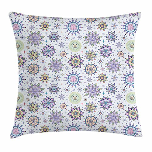 Winter Throw Pillow Cushion Cover by Ambesonne, Pastel Colored Detailed Floral Figures Artistic Cute Sweet Snow Blizzard Pattern, Decorative Square Accent Pillow Case, 36 X 36 Inches, - Open Blizzard Beach