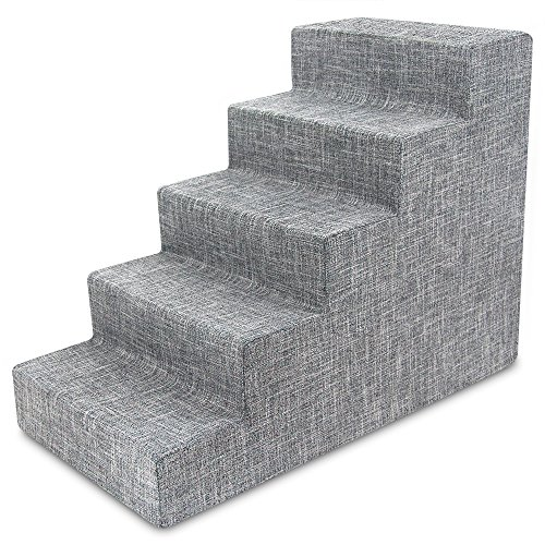 USA Made Pet Steps/Stairs with CertiPUR-US Certified Foam for Dogs & Cats by Best Pet Supplies - Gray Linen, 5-Step (H: 22.5
