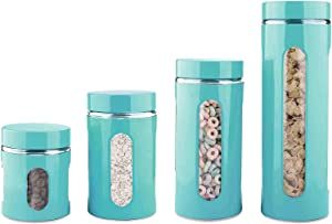4 Piece Stainless Steel Coated Canister Set with Glass Windows & Interior (Sizes 23oz, 33oz, 50oz, 67oz)