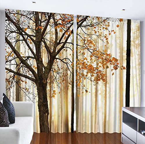 Ambesonne Curtains for Living Room by, Fall Trees Woodsy Country Theme Home Decor Dining Room Bedroom Curtains 2 Panels for Kids Room Window Treatments, 108 x 84 Inches Wide, Yellow (Fall Window)