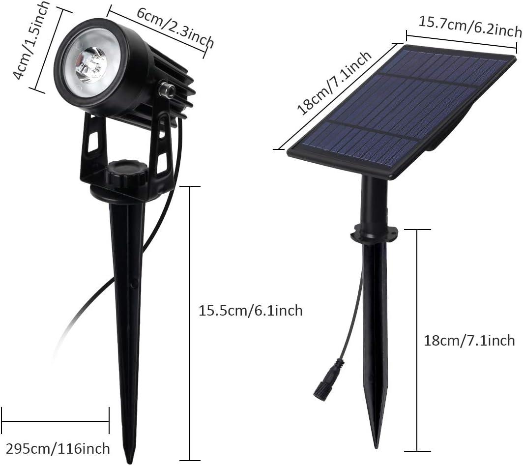 Solarleuchte Garten, T-SUN 4 Stück LED Gartenbeleuchtung Solar, Gartenstrahler Solar, Wasserdicht LED Solarlampe, Solar Außenleuchte, Gartenlampe, Wegeleuchte, Spotbeleuchtung.(Farbwechsel) 4h-rgb