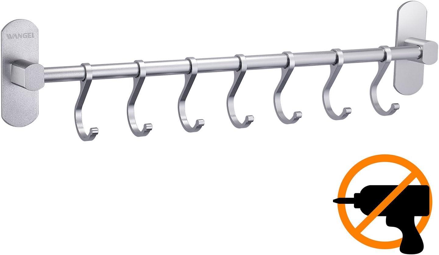 Wangel Adhesivo 7 Gancho Barra Soportes y Organizadores para Utensilios de Cocina, Pegamento Patentado + Autoadhesivo, Aluminio, Acabado Mate, 40CM