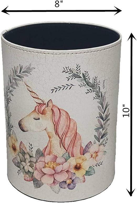 Teakpeak Papelera para ni/ños sal/ón y m/ás resistente al agua cuarto de ba/ño 10 L ni/ña multiusos para oficina papelera de unicornio