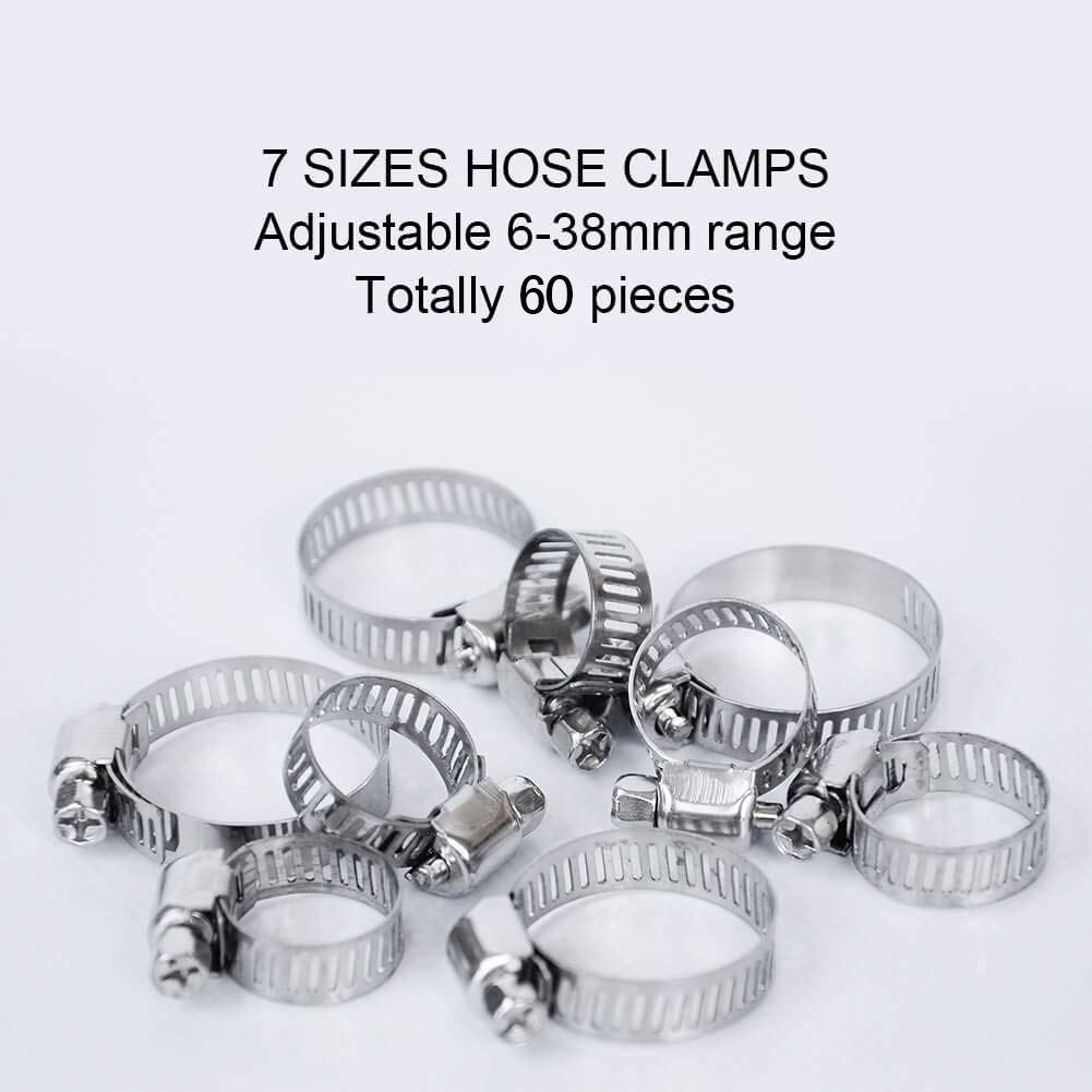 Fuel Line Clamp for Plumbing Hose Clamp Automotive and Mechanical Applications 60 Pieces Stainless Steel Adjustable 6-38mm Range Worm Gear Hose Clamp