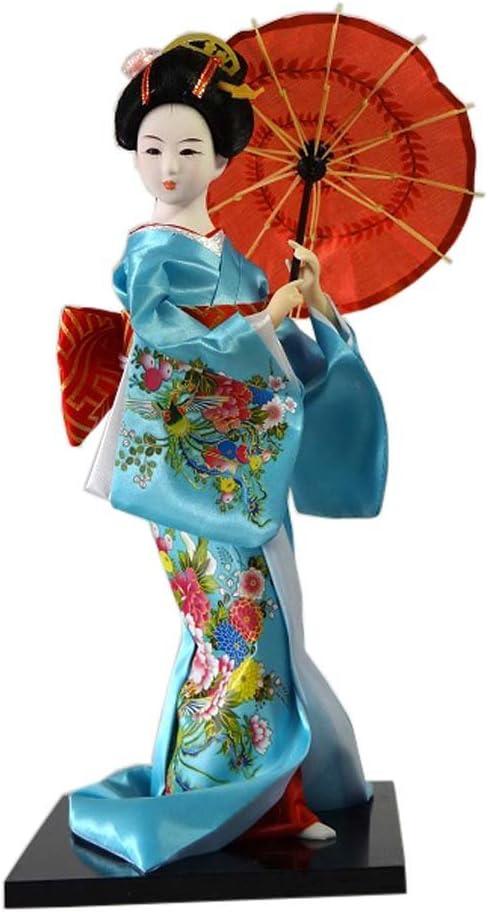 Traditional Japanese Costume Girl Standing Doll Models Desk Ornament 12 Inch