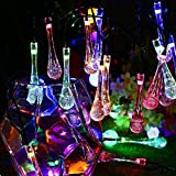 Solar String Lights, 21.3feet 30 LED Water Drop Fairy Lights with 8 Modes, Outdoor Waterproof Solar Powered Lights for Patio, Garden, Lawn, Path, Party and Home Decorations, Multi Col